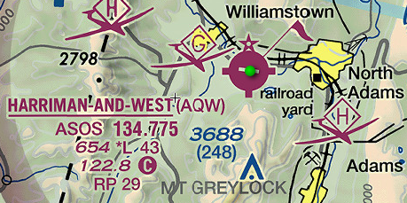 Sectional chart detail showing Harriman-and-West airport information.