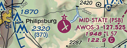 Sectional chart detail showing Philipsburg airport.